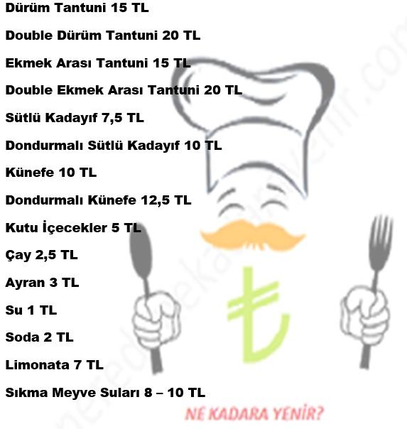 bazeen tantuni menü fiyat listesi
