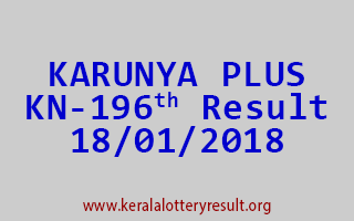 KARUNYA PLUS Lottery KN 196 Results 18-01-2018