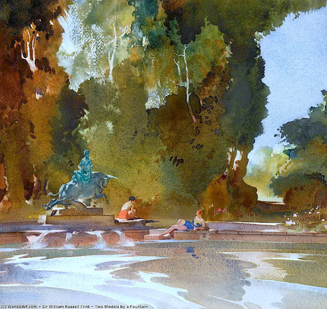 a William Russell Flint watercolor painting of woman resting at a large fountain