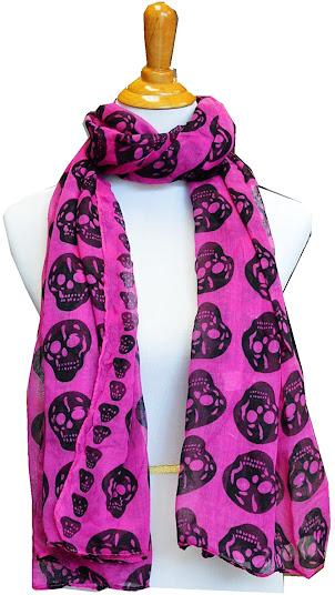 Skull Print Scarf Shawl Wrap