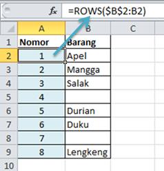 Contoh Rumus Excel Fungsi ROWS Nomor Urut