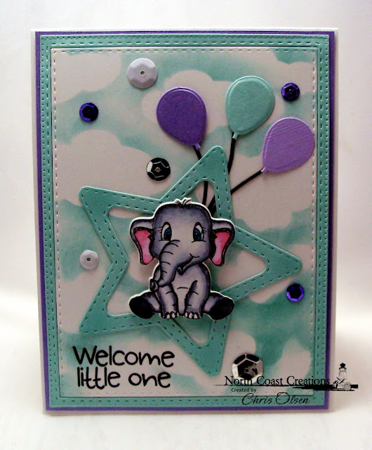 designed by Chris Olsen, North Coast Creations, Bundle of Love Stamp dies,  Double Stitched Stars, Clouds and Raindrops, Happy Birthday, Double Stitched Rectangles