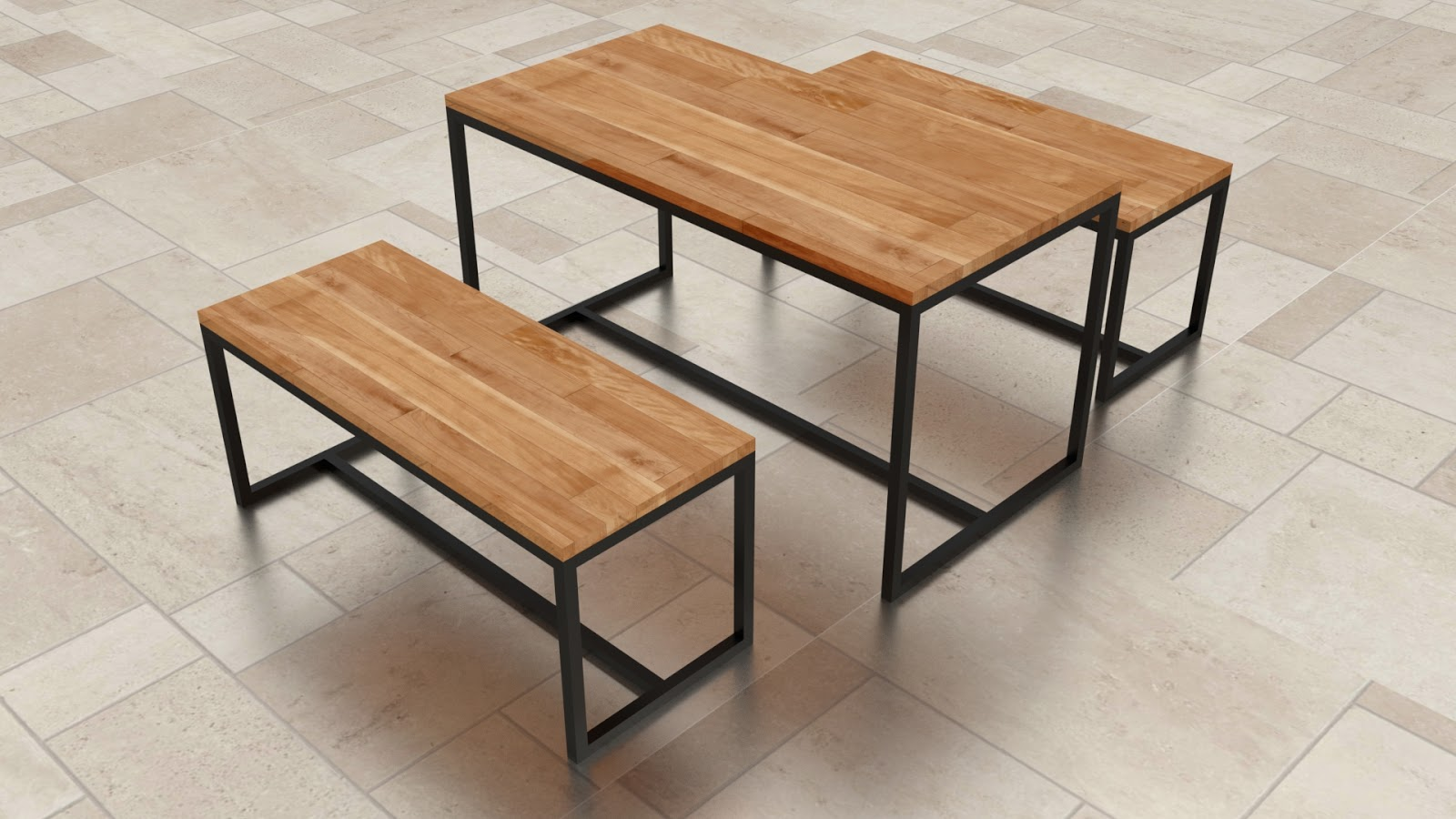 Free 3D Canteen Table & Chairs .blend