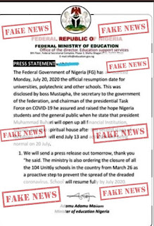 Attention: Disregards all unconfirmed news circulating on the date for resumption of school — Federal Ministry of Education