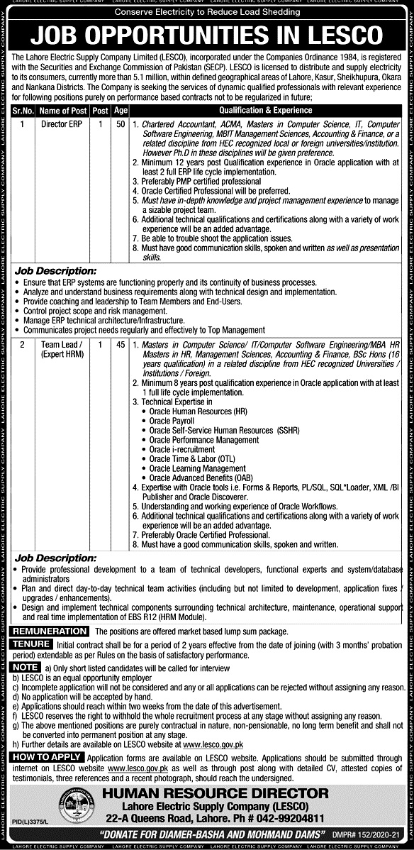 Latest Jobs in  Lahore Electric Supply Company LESCO 2021