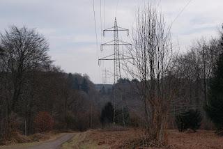 Eine Schneise von mehreren Strommasten zieht sich durch die Landschaft
