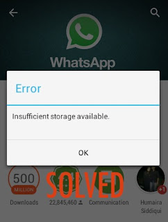 Memori internal tidak memiliki cukup ruang untuk mengunduh WhatsApp Messenger