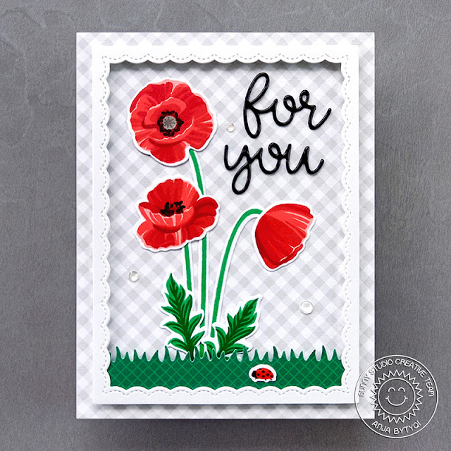 Sunny Studio Stamps: Poppy Fields Fancy Frame Dies Picket Fence Border Dies Floral Card by Anja Bytyqi