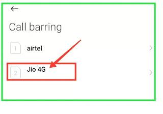 Call barring password jio