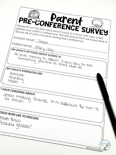 Use this form to keep your conference on track!  When you know the parents' concerns, you are able to schedule in time to discuss these concerns with them.  You may be surprised to learn they are your same concerns!