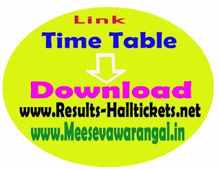 Adikavi Nannaya University UG 2016 Exam Time Table