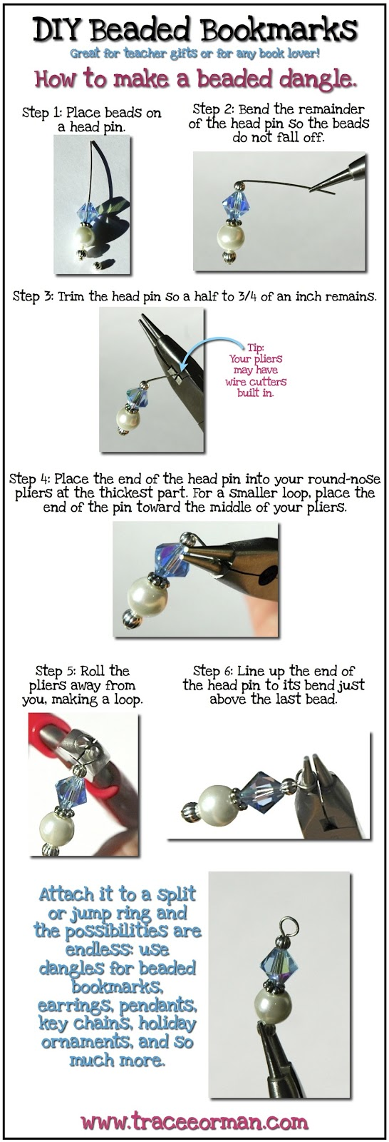 How to make a beaded dangle DIY www.traceeorman.com