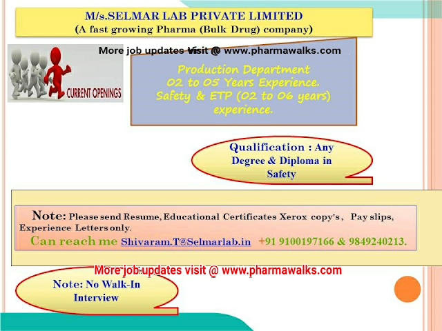 Selmar Laboratories urgent hiring for Production/ ETP/ Safety Departments   Apply Now