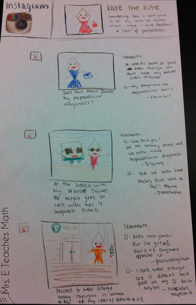 awesome quadrilateral project - students created an instagram page for a quadrilateral