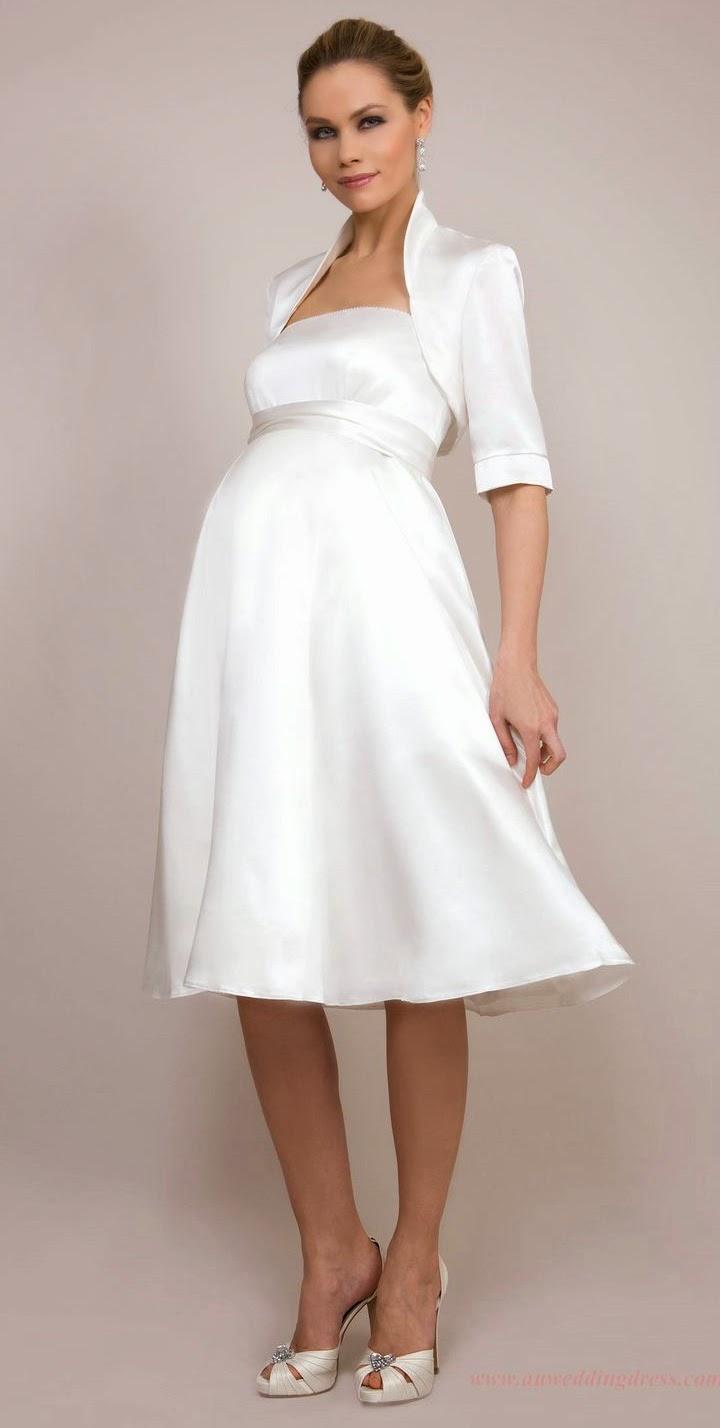 2301ef2856 Short White Maternity Wedding Dress