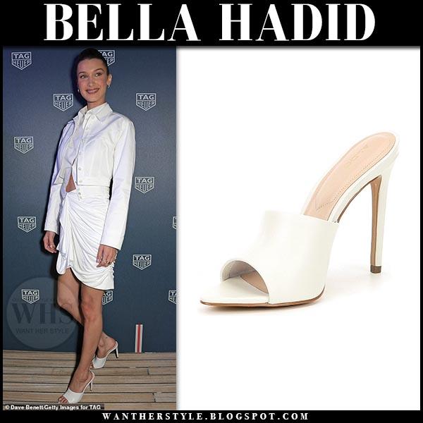 7aa655e4f82 Bella Hadid in white open toe sandals aldo padova. Celebrity party outfit  2019