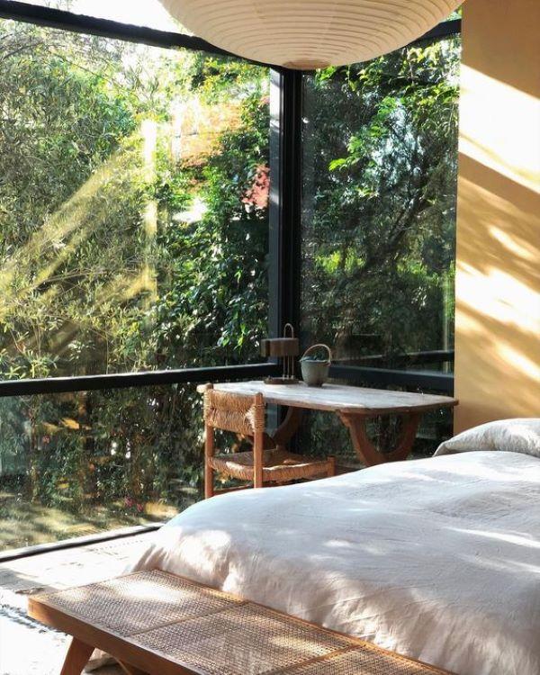 Serene and light filled bedroom. Designed by Simon Design-designaddictmom