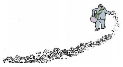 Charge de Laerte, com Bolsonaro soltando ossos pelo chão