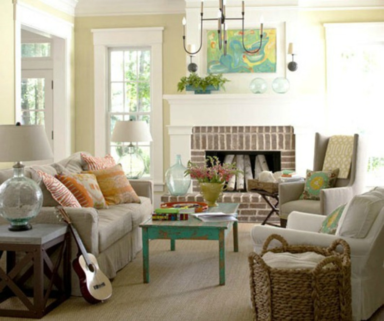 coastal living room, slipcover sofa