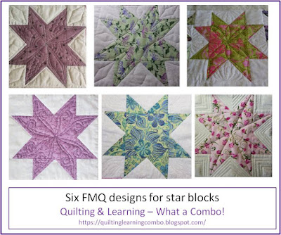 image of 6 FMQ designs for star blocks