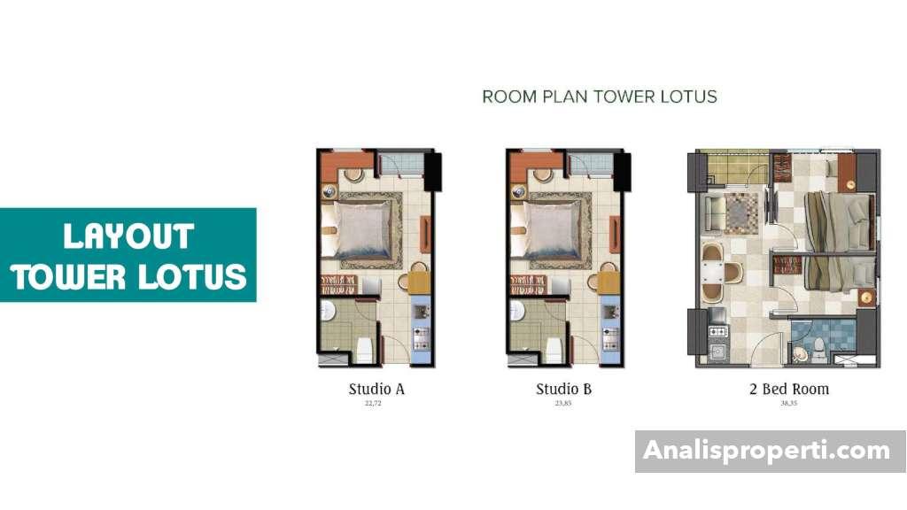Room Plan Tower Lotus Tipe Studio Apartemen B Residence
