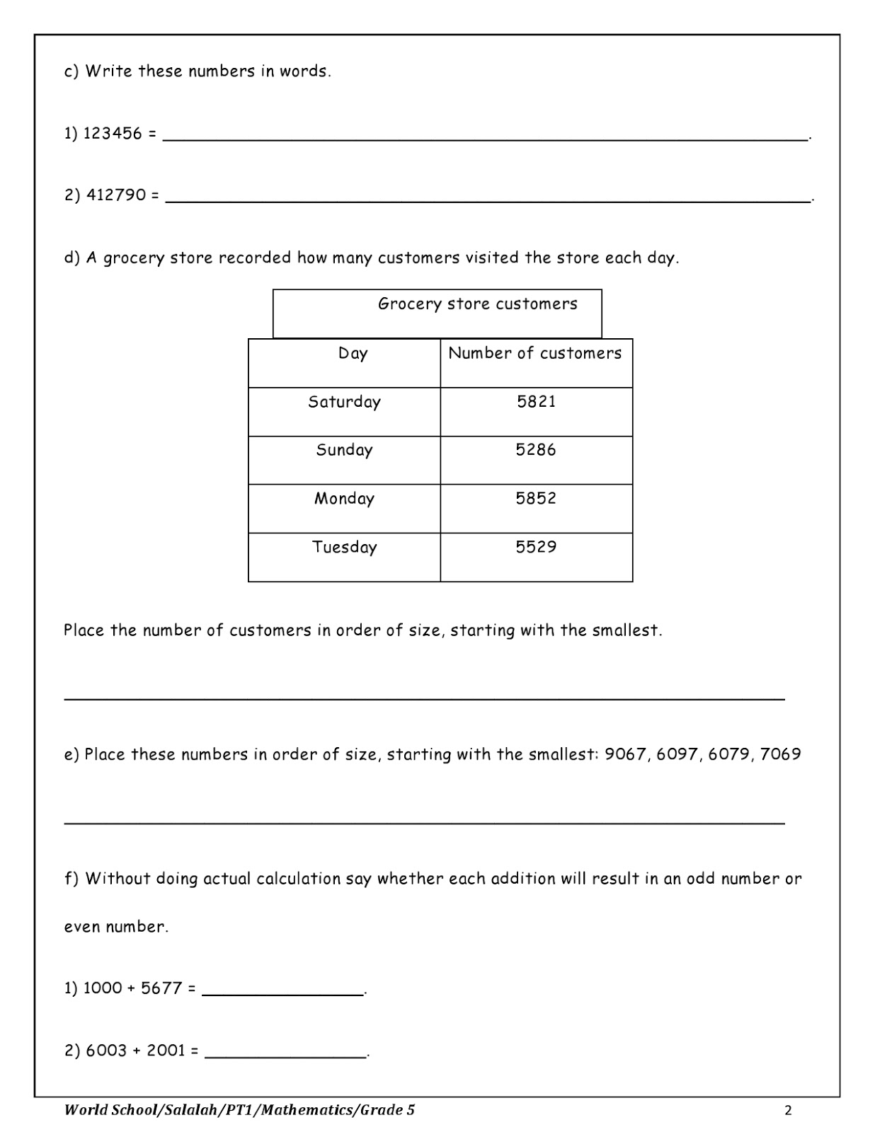 Birla World School Oman Revision Worksheet For Grade 5 As