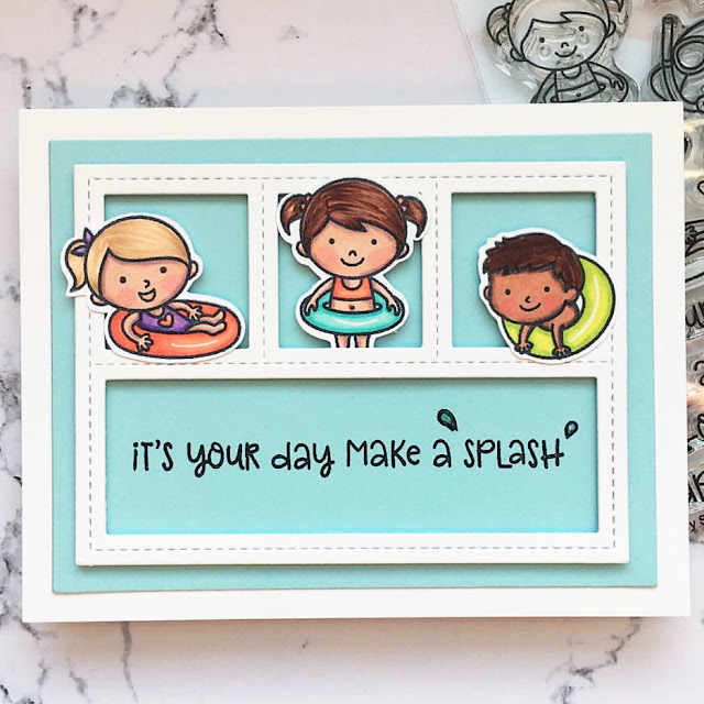 Sunny Studio Stamps: Beach Babies Customer Card by Kathy Straw