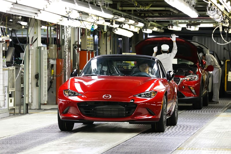 2016 Mazda Miata rolling off the assembly line
