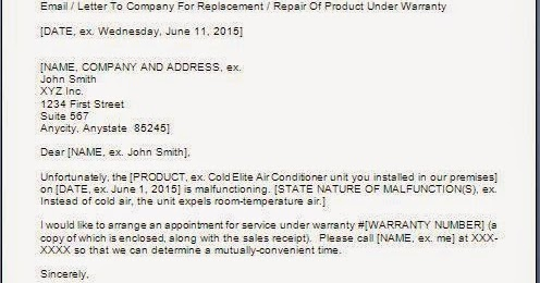 Sample Letter Requesting For Repair Under Warranty