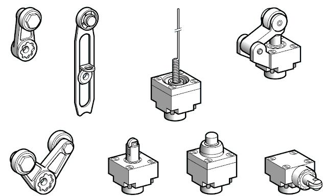 Tipos de cabeza de interruptores de posición o limit switch