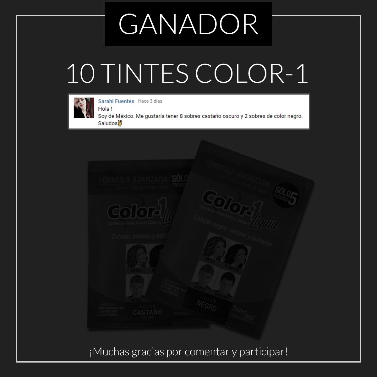 Ganador sorteo internacional tinte Color-1 cinco minutos sin peróxido