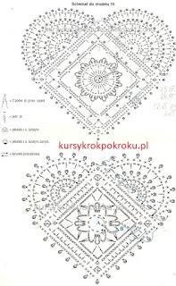 Serce na szydełku metoda filetu, metoda siatkowa WZÓR 1 - kokarda i kwiat -  SCHEMAT i opis