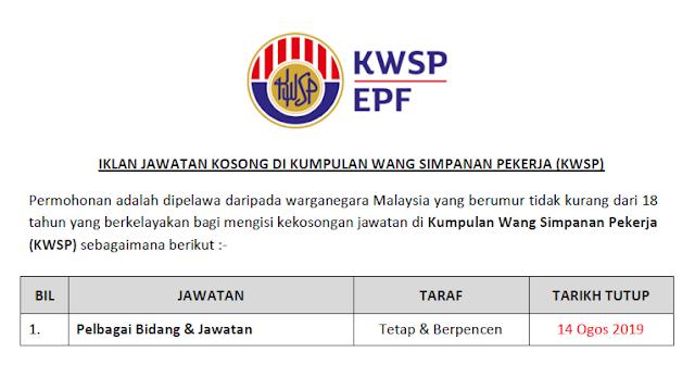 jawatan kwsp 2019