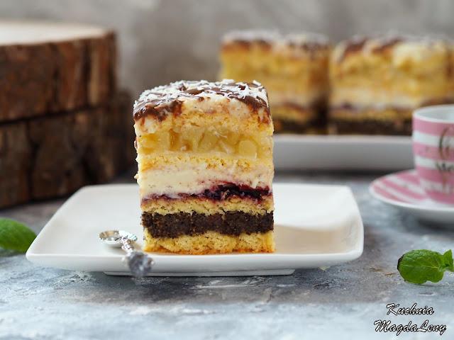 Ciasto makowe i ciasto jabłkowe z domową masą budyniową