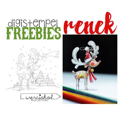 Reniferek- digistempel- FREE