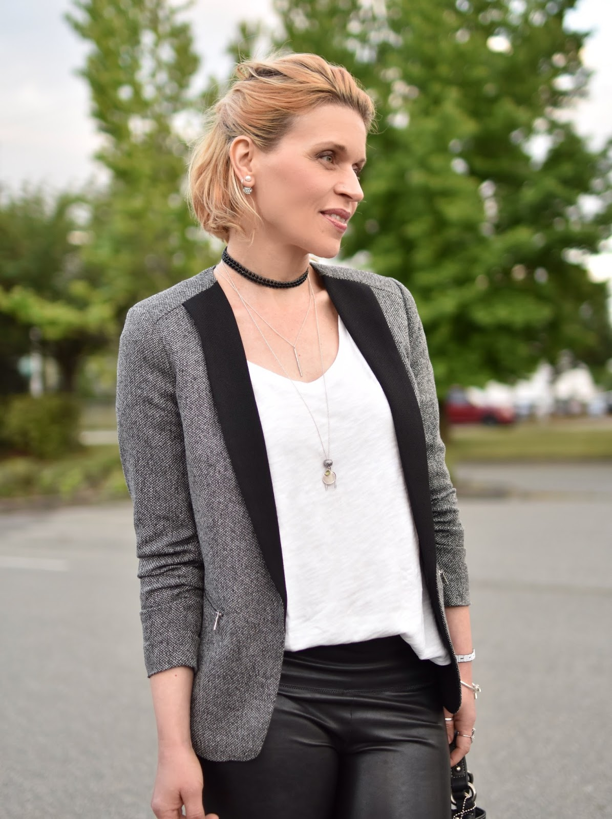 shawl collar blazer, faux-leather leggings, slouchy white tee