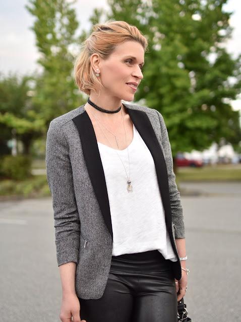 shawl collar blazer, faux-leather leggings, slouchy white tee