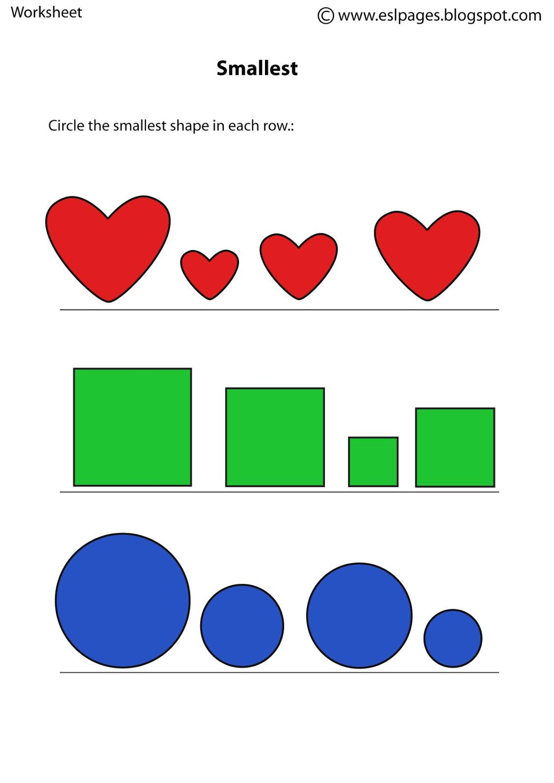 Esl Pages Size Worksheets