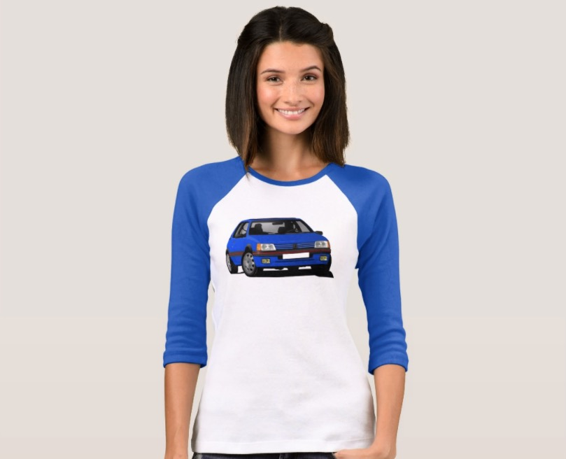 Cornering blue colored Peugeot 205 GTi shirts
