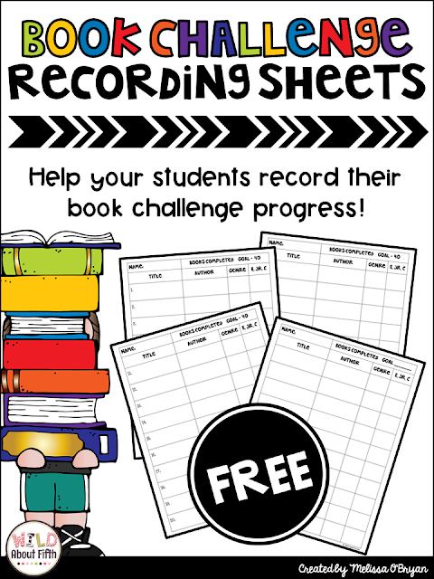40 book challenge recording sheets for students to keep track of the books they've read