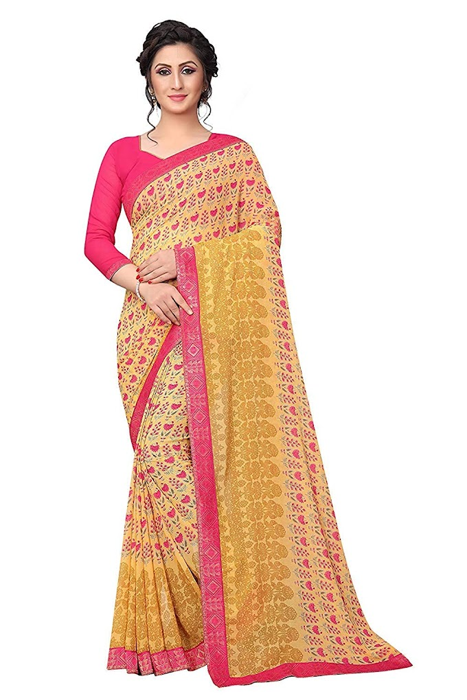 Rajeshwar Fashion With Rf Women's Georgette Printed Saree Lace Work With Blouse Piece (A28 Yellow_Yellow_Free Size)