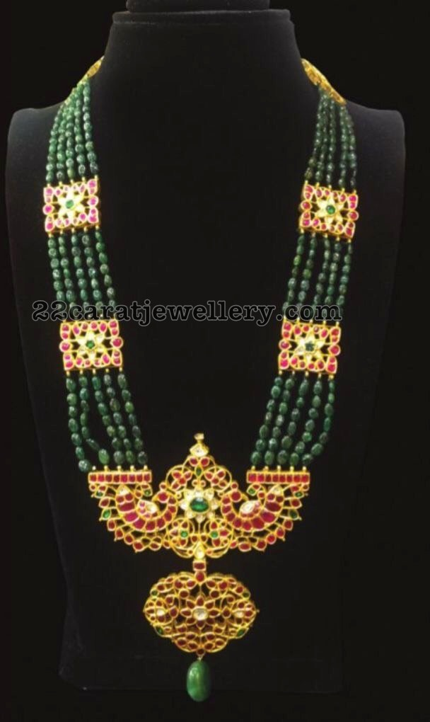 Emerald Beads Set with Kundan Patakam Locket