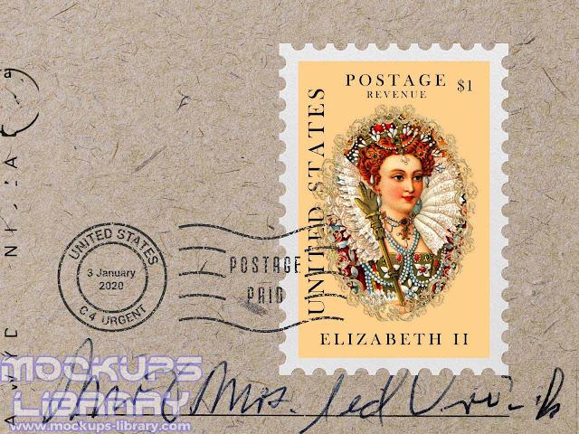 postage stamp mockup free