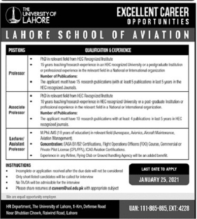 uol-jobs-2021-advertisement-the-university-of-lahore-apply-online