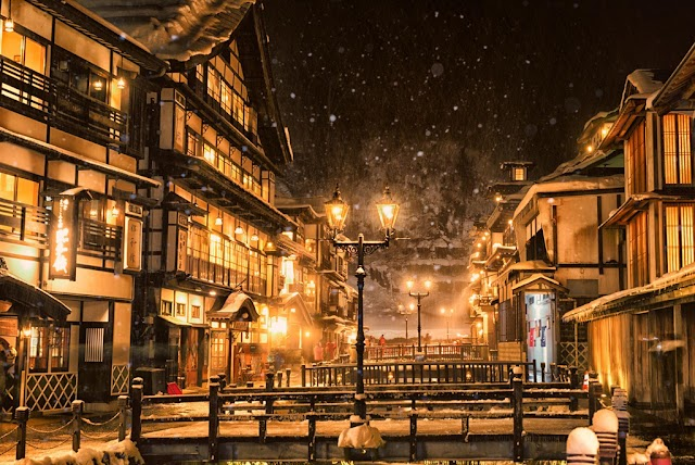Ancient town shimmering like stepping out from Japanese animation