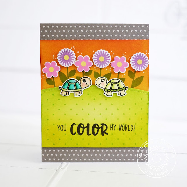 Sunny Studio Stamps: Turtley Awesome You Color My World Card by Lexa Levana (using Friends & Family & Color Me Happy)