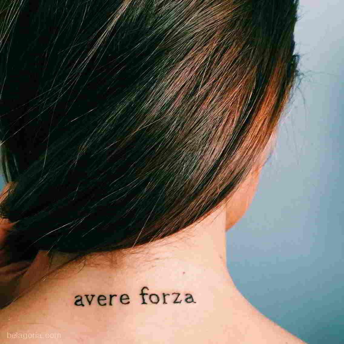 tatuaje detras del cuello avere forza