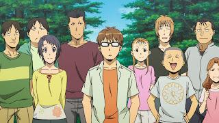 Hachiken i jego przyjaciele z liceum rolniczego na wspólnym zdjęciu