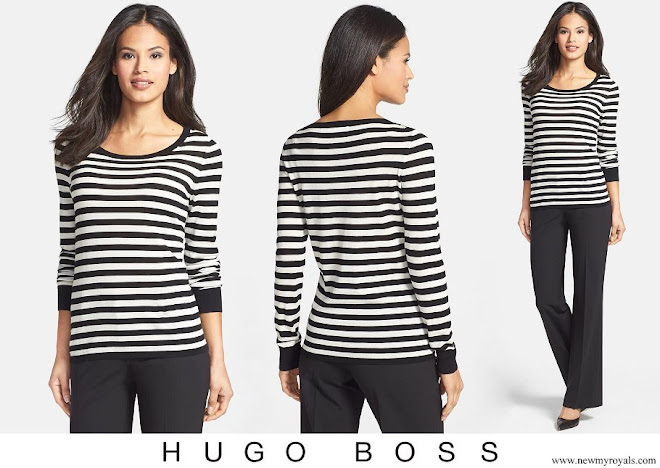 Queen Letizia wore BOSS Stripe Wool Sweater
