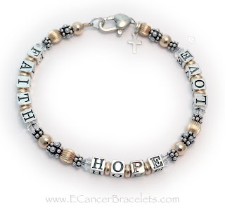 Lung Cancer Faith Hope Love Bracelet with a Cross Charm and a Heart Lobster Claw Clasp